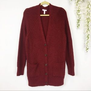 LEITH chunky oversized red cardigan soft